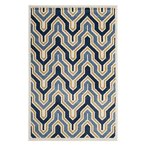 Safavieh Amherst Collection AMT438T Ivory and Gold Indoor/Outdoor Area Rug (9′ x 12′)