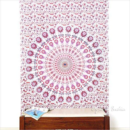 Eyes of India - Small Twin White Pink Indian Elephant Mandala Tapestry Hanging Picnic Bohemian Boho by Eyes of India
