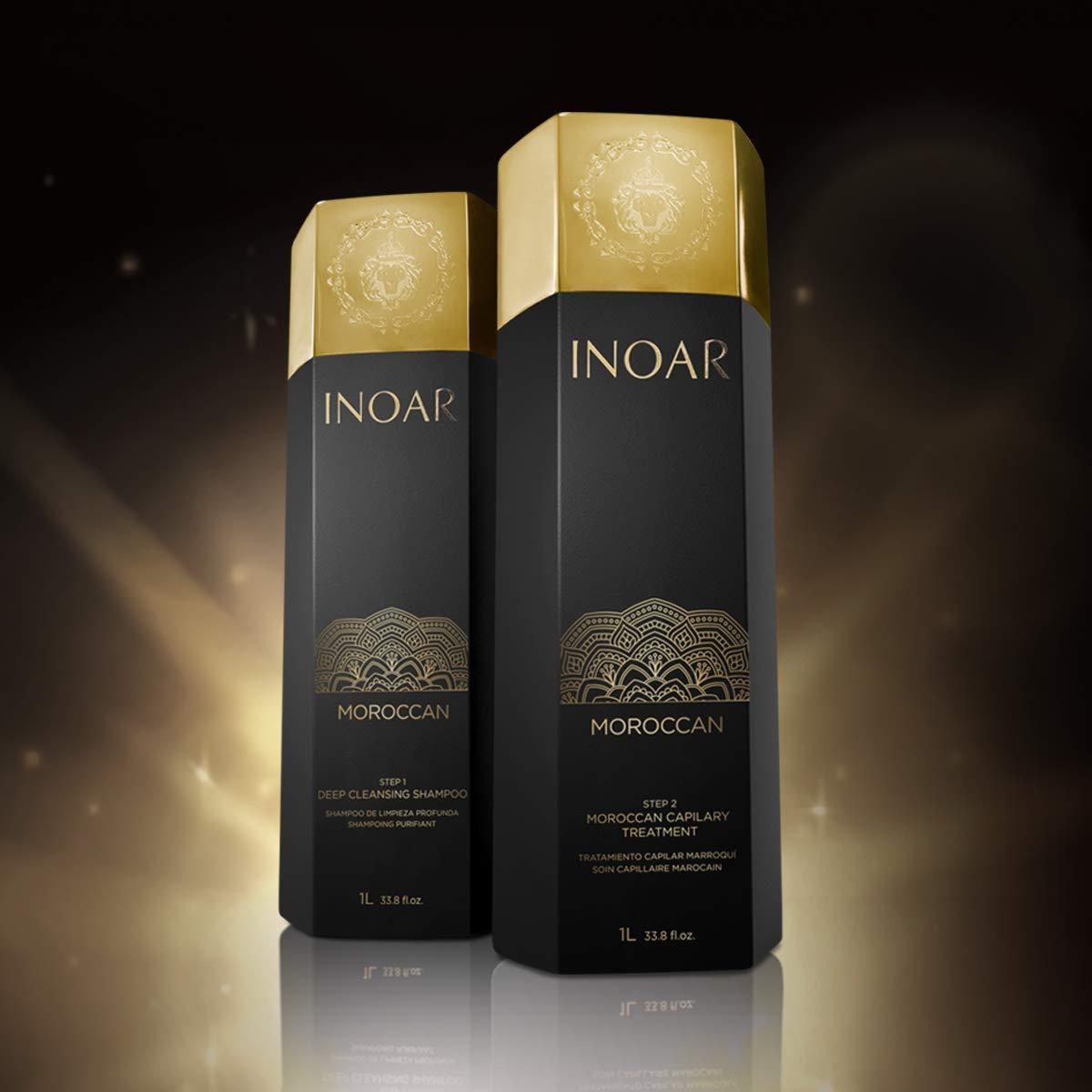 Inoar Moroccan Brazilian Keratin Hair Straightener Treatment - Smoothing Capillary, 33oz Set