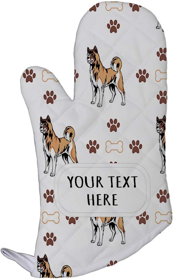 Style In Print Polyester Oven Mitt Custom American Akita Dog Bones Paws Pattern Adults Kitchen Mittens