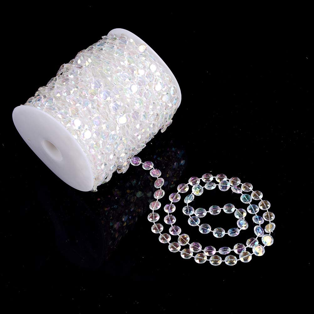Tomixxx Large Pearls Faux Crystal Beads Roll 10mm Color Fantasy Feature 33 Yards Long Wholesale /…
