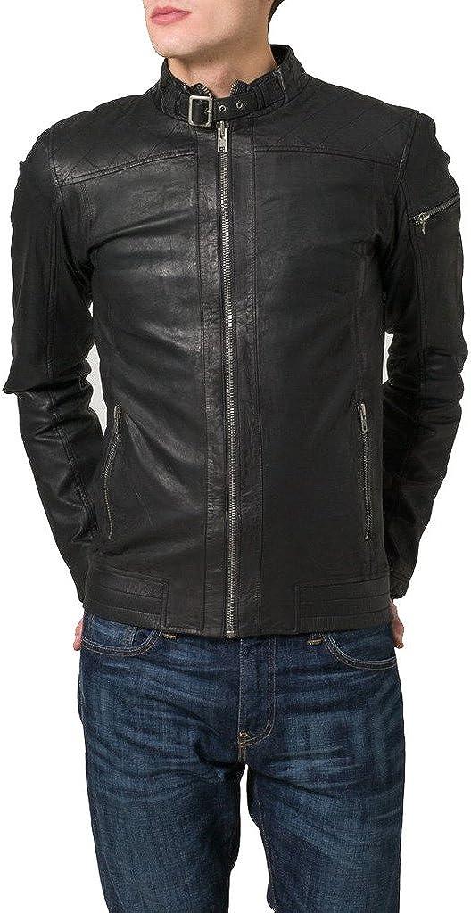 New Men Genuine Sheep Leather Slim Fit Biker Jacket LF379