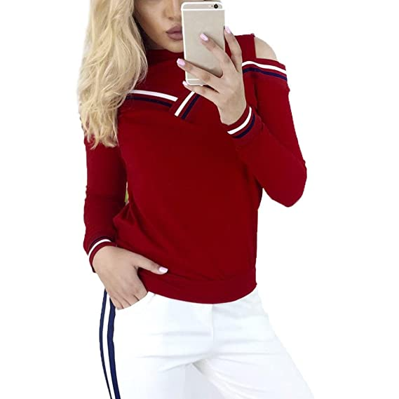 Koly Atractiva Mujeres Raya Patchwork Empalmado Ronda Manga Larga Blusa Frío Hombro Camiseta Tapas Algodón Color