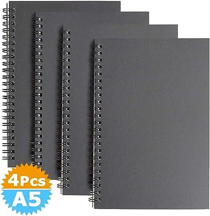Cuaderno Espiral A5 Forrado, Cubierta de Kraft Líneas Blocs de Notas y Diarios 100 Páginas, 50 Hojas Libreta Perfecto para Viajar, Pack de 4 - Negra: Amazon.es: Oficina y papelería