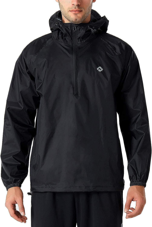 Naviskin Men's Waterproof Rain Jacket Packable Outdoor Hooded Raincoat Poncho: Clothing