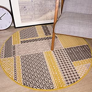 Milan Ochre Patchwork Living Room Rug
