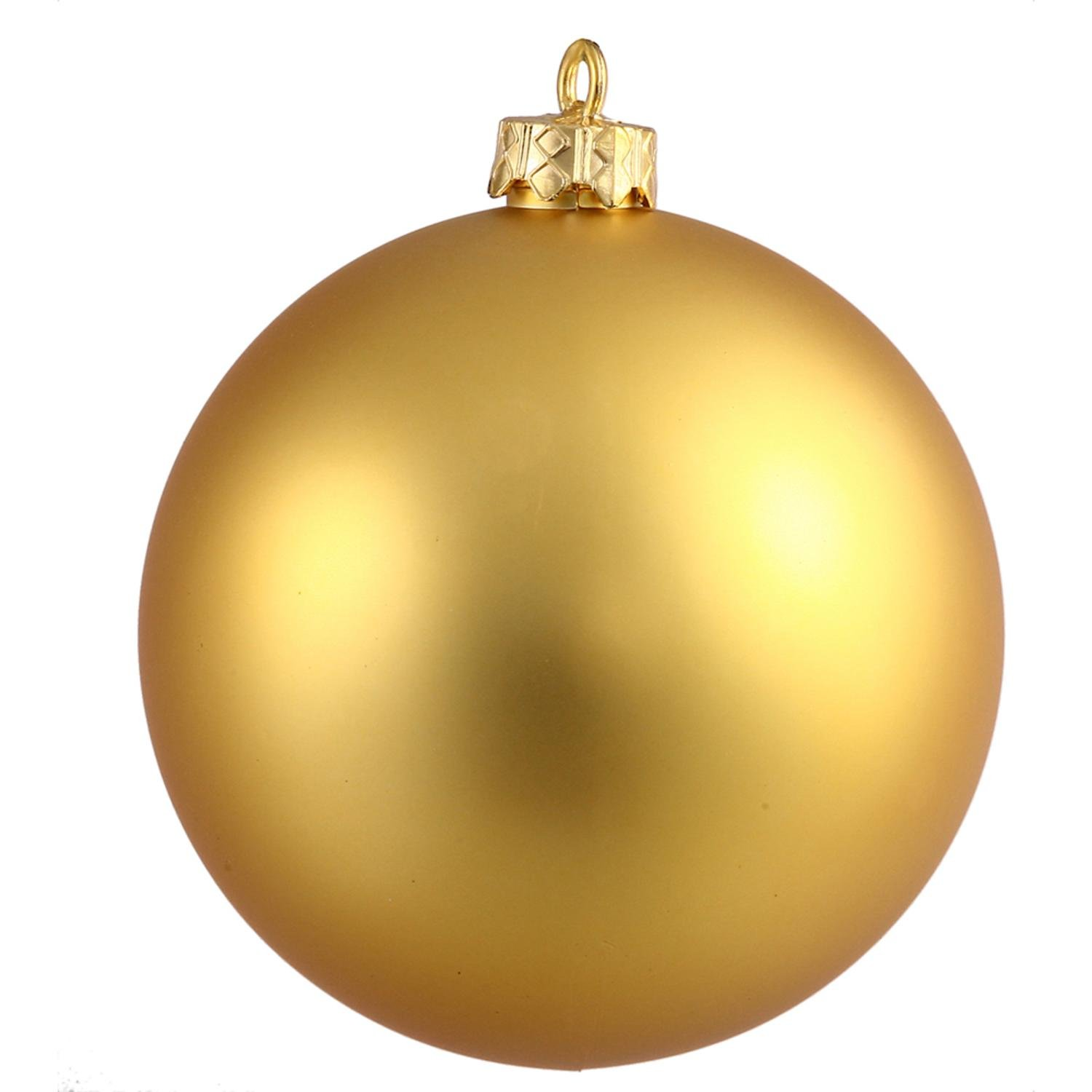 By Vickerman Matte Gold UV Resistant Commercial Drilled Shatterproof Christmas Ball Ornament 15.75''(400mm)