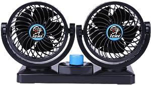 Car Fan Electric Auto Cooling Fan 12V Car Air Circulator - Dual Head 2 Speeds Quiet Powerful 360 Rotating Ventilation Dashboard Electric Car Fans for SUV Auto Vehicles Golf Cart Sedan RV Boat