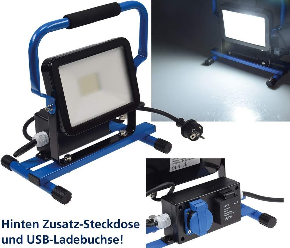 LED Baustrahler 30W mit Steckdose+USB IP44 2600 Lumen,6400K//neutralwei/ß 230V