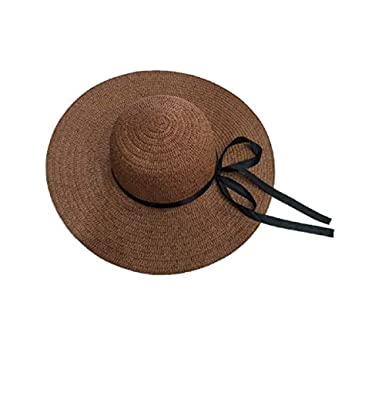 30fdd78b79b8ed SUNNHATS Women's Sun Hat Straw Wide Brim Beach Floppy Derby Bow Ladies  Ribbon Cap (Brown