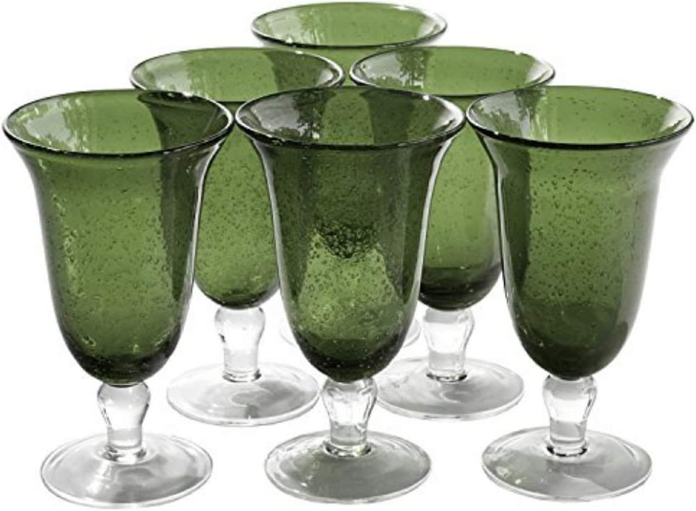 Artland Iris Seeded Sage 18 Ounce Footed Iced Tea Glass, Set of 6