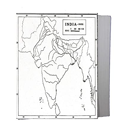 CRAFTWAFT BLANK RIVER MAP OF INDIA FOR MAP POINTING PACK OF 100