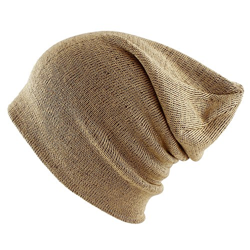 Morehats Cotton Soft Stretch Knit Slouchy Beanie Hip-hop Casual Daily Year Round Hat (One Size, Two Tone Beige)