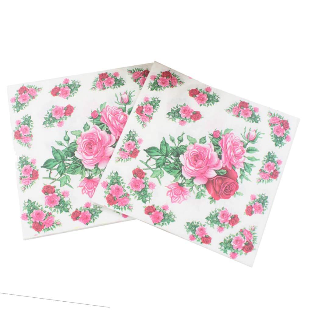 Baoblaze 20 Piezas Rosa Papel de Servilleta de Papel Floral para Boda Tea Party Decor Pink