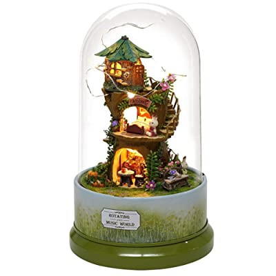 Yosooo DIY Dollhouse Cute DIY Forest Dollhouse Miniature with Rotate Music Box Dust Cover LED Light: Home & Kitchen