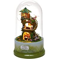 GOTOTOP Music Box, Cute DIY Forest House Miniature with Rotate Music Box Dust Cover LED Light