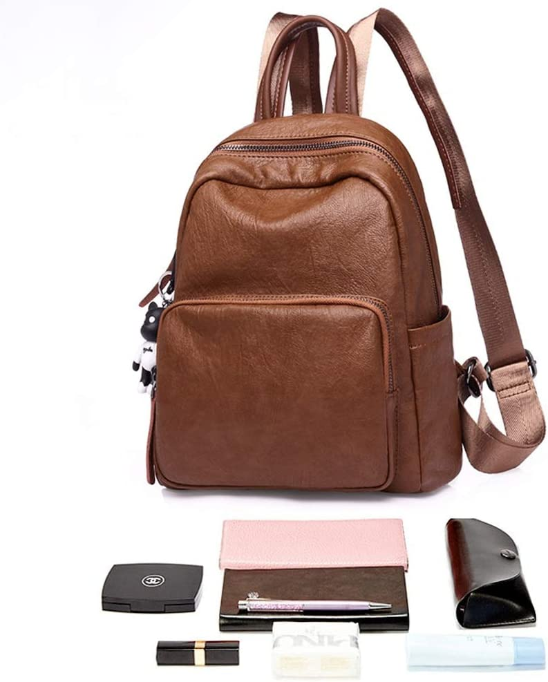 Haoyushangmao The Girls Versatile Backpack is Perfect for Everyday Travel Fashion and Leisure Color : Brown, Size : 27cm30cm13cm Black//Brown School Outdoor Travel Work PU Leather.