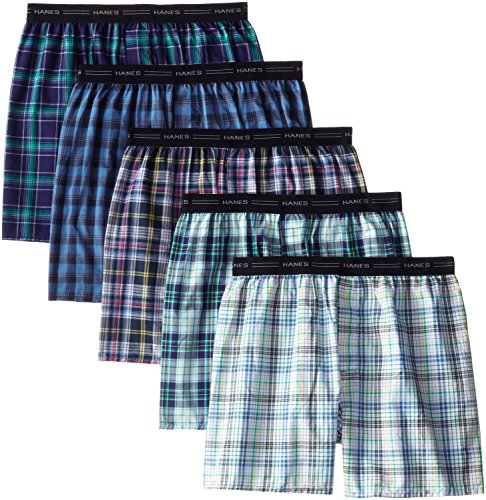 Hanes Men's 5-Pack Woven Exposed Waistband Boxers, Fashion Plaid, X-Large (Boxers Mens Tartan)