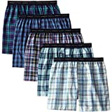 Hanes Red Label Men's 5-Pack Woven Exposed Waistband Boxers