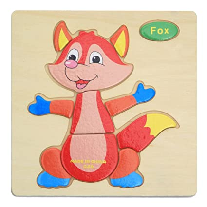 Alician Toy Children Cartoon Wooden Intelligence Jigsaw Puzzle Toy Animal Transportation Cognize Hands Grip Toy Fox