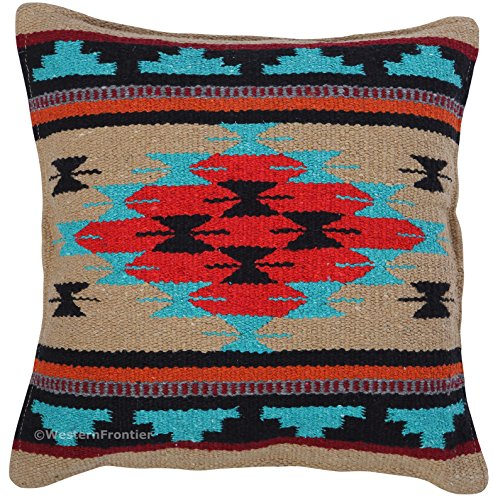 El Paso Designs Aztec Throw Pillow Covers, 18 X 18, Hand Woven in Southwest and Native American Styles. (Red Teal Diamond)