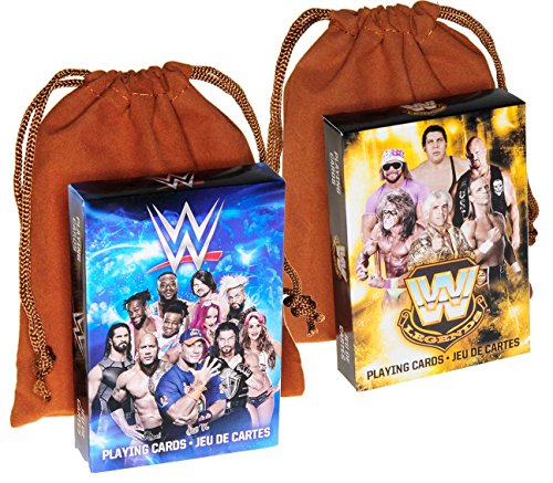 WWE Superstars & Legends Themed Playing Cards _ Bonus 2 BROWN Velveteen Drawstring Pouches _ Bundled Items