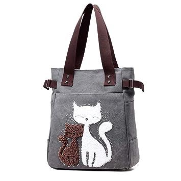 YNNB Lona de Dibujos Animados Gato Bolso, Bolso de Hombro de Lona de Las Mujeres Tote Shopping Bolsos Femme Bolsos,Gray: Amazon.es: Hogar