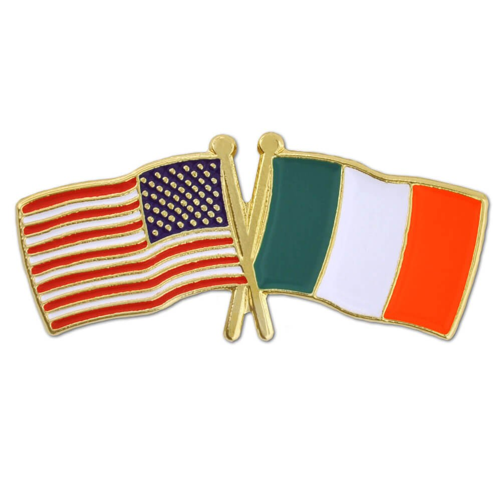 PinMart's USA and Ireland Crossed Friendship Flag Enamel Lapel Pin