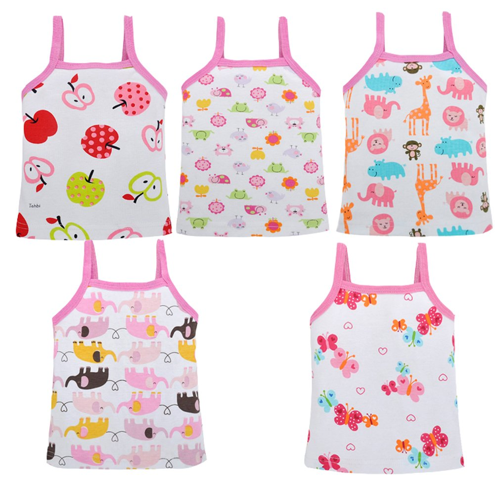 DRAROL Baby Girls'5 Piece Flower Camisoles