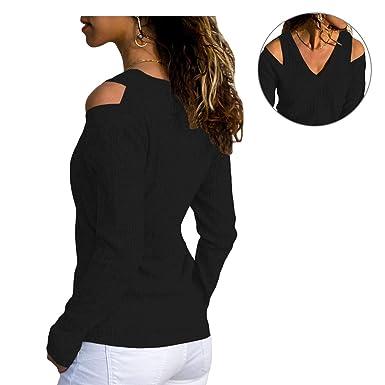731295ea96 Asvivid Ladies Cold Shoulder V Neck Long Sleeve Ribbed Knit Pullover Sweater  Blouse Top Size UK6