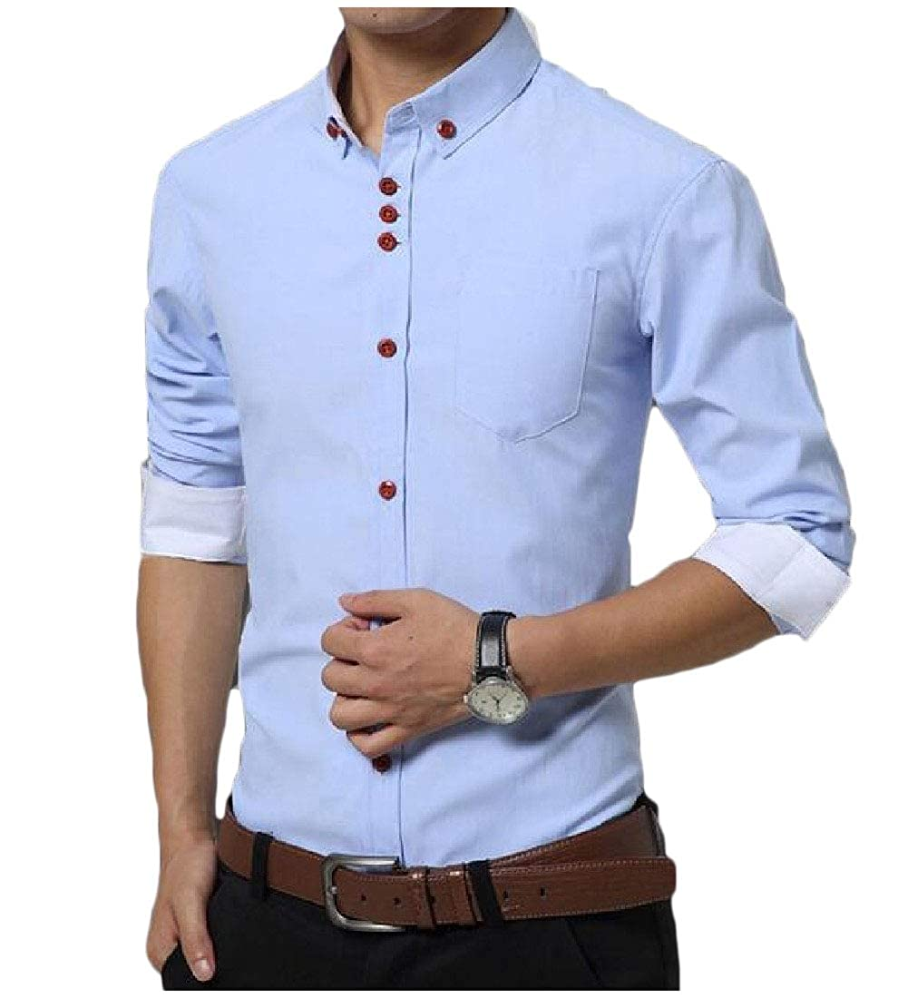 YUNY Mens Winter Long Sleeve Business Turn-Down Collar Button T-Shirts Shirts Sky Blue M