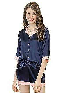 mujer pijama verano corto Sexy y Elegante pantalones Manga Camison Batas y Kimonos saten seda,