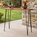 Daniel | Outdoor Industrial Acacia Wood/Iron Bar Table | in Rustic Metal and Teak Finish For Sale