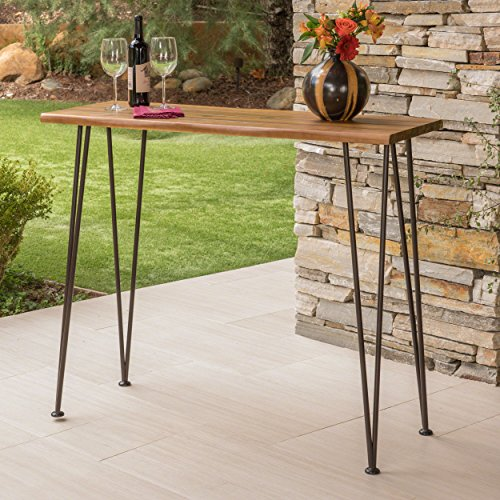 Daniel | Outdoor Industrial Acacia Wood/Iron Bar Table | in Rustic Metal and Teak Finish