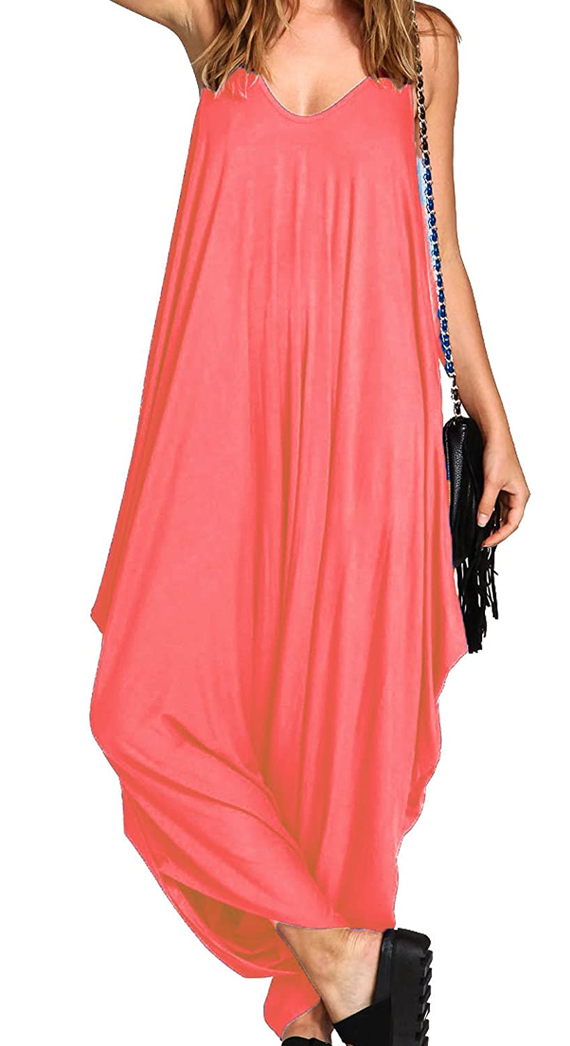 b3a4589305 Ladies Baggy Harem Jumpsuit Romper Sleeveless All in One V-Neck Cami  Playsuit