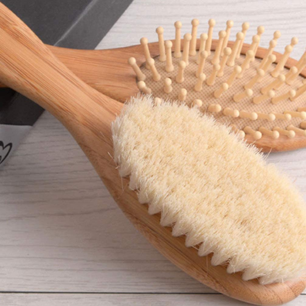 Lurrose Baby Hair Brush and Comb Set Natural Wooden Hairbrush for Newborn Infant Toddler Kids Gift