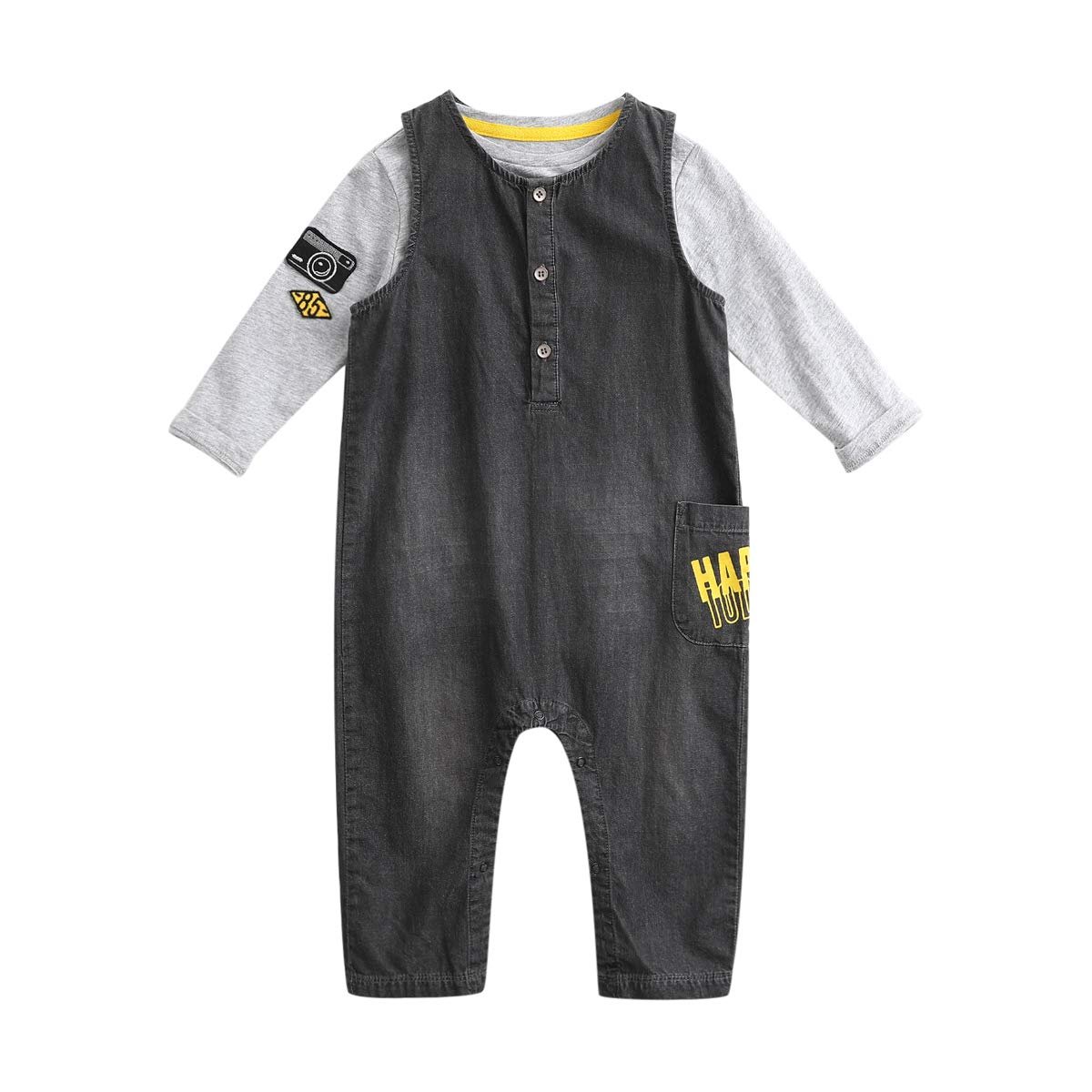 marc janie Little Boys' Autumn Denim Overalls and T Shirt Set Gray 24 Months (80 cm)