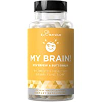 My Brain! Migraine Relief & Headache Vitamins – Sensitivity, Nausea & Auras, Healthy Brain Function for a Clear Mind – Fast-Acting Magnesium, Butterbur, Feverfew – 60 Vegetarian Soft Capsules