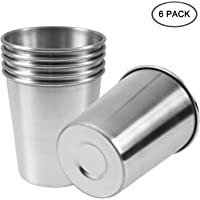 EVERMARKET 6 Pack 8 Ounce 230ml Stainless Steel Cups Shatterproof Pint Drinking Cups Metal Drinking Glasses for Kids and Adults