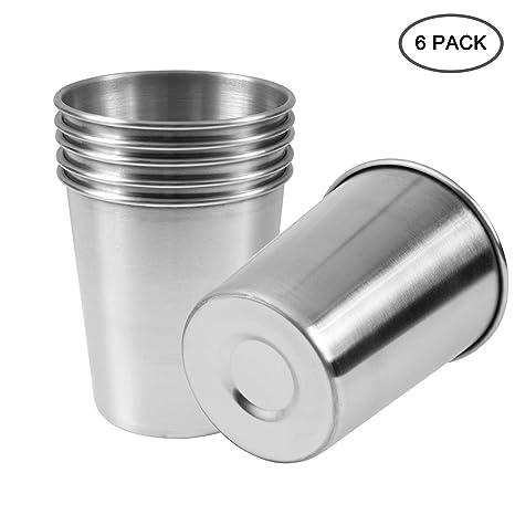 Amazon.com: EVERMARKET 6 Pack 8 Ounce 230 ml vasos de acero ...