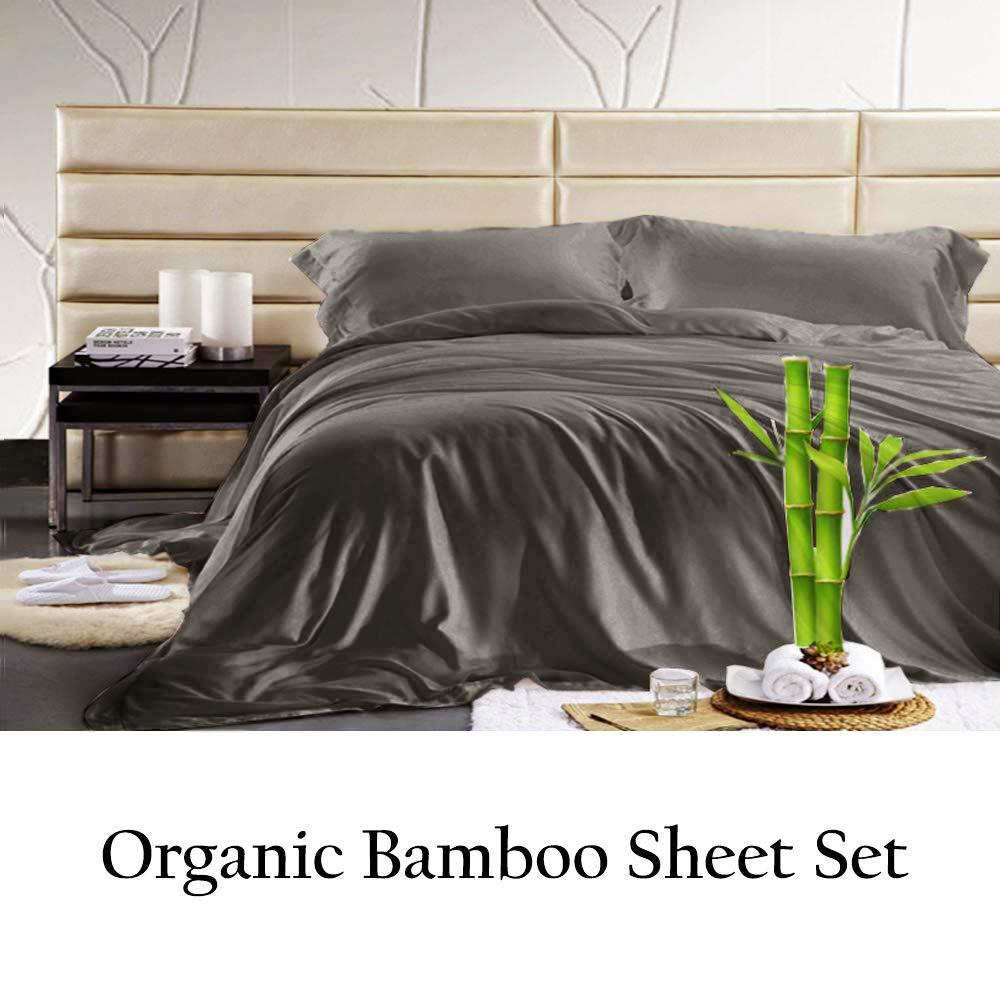 Jvin Fab 100% Pure Bamboo Sheet - Super Soft & Cool   Luxurious Sateen Weave   4 Piece Sheets(Queen, Elephant Grey)