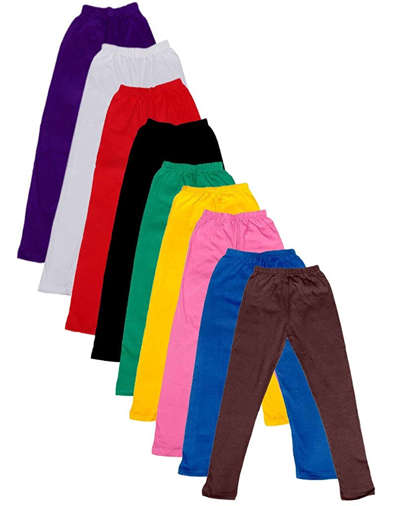 Indistar Big Girls Cotton Full Ankle Length Solid Leggings Pack of 9 -Multiple Colors-13-14Years