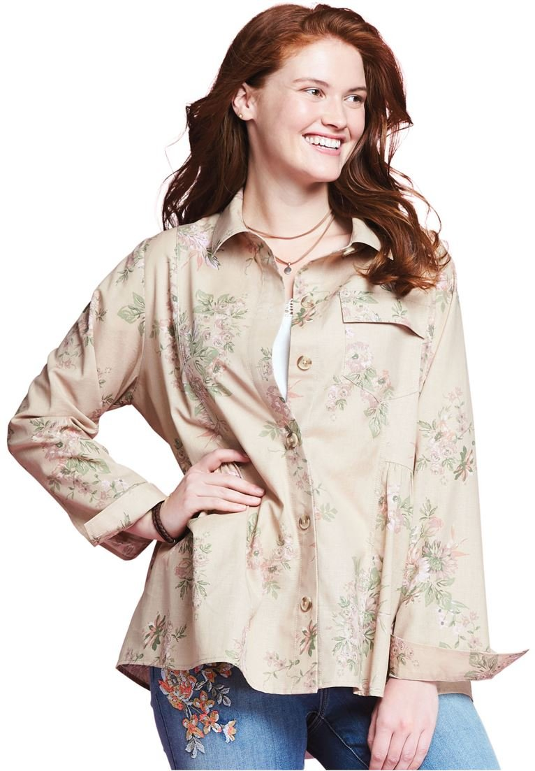 Women's Plus Size Button-Front Jacket Washed Floral,2X