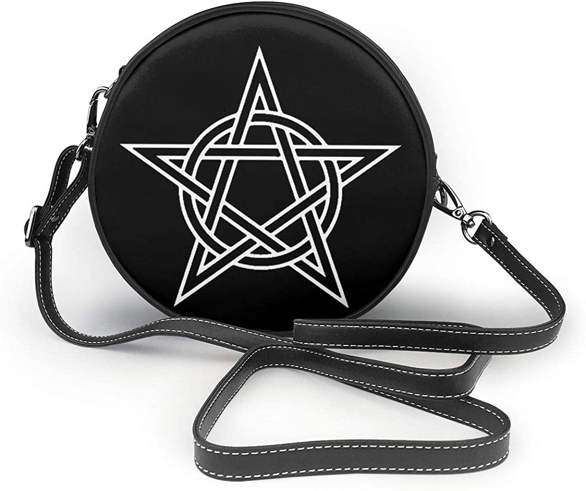 Pentagram And Circle Interlaced Women Round Leather Shoulder Bags Tote Beach Bags Wallet