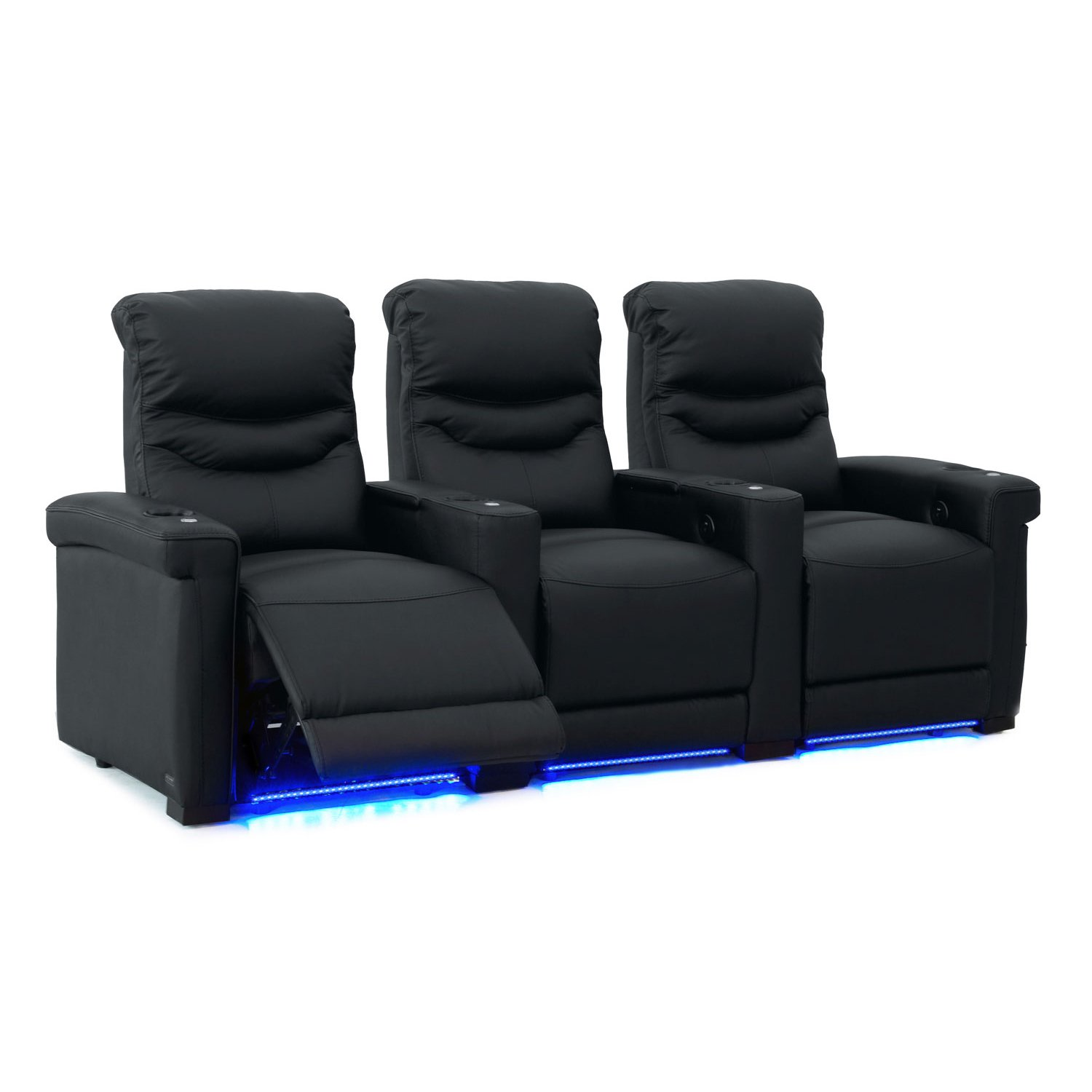 Octane Challenger XS700 Row of 3 Seats, Straight Row in Black Leather with Power Recline by Octane Seating