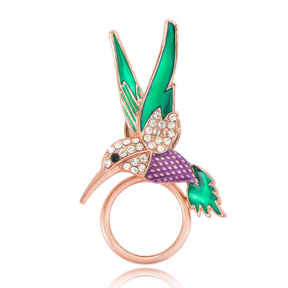 BEICHUANG Hummingbird Strong Magnetic Eyeglass Sunglass Holder Green Purple Bird Brooch Pin(rose gold)