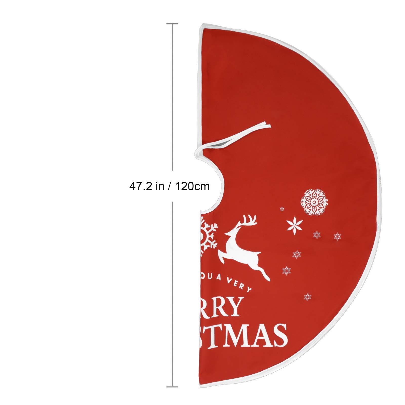 Voilamart Weihnachtsbaumdecke 120cm Weihnachtsbaum Rock Weihnachtsbaum Decke Deko,runde Baumdecke Tannenbaum Tannenbaum-Unterlage mit Weihnachtsmotiv - rot