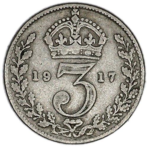 1917 UK George V British Silver Threepence Very Good