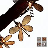LIDORE set of 10 Vintage style New Metal Dragonfly String Lights.Ideal for Gradon, outdoor and indoor decor.