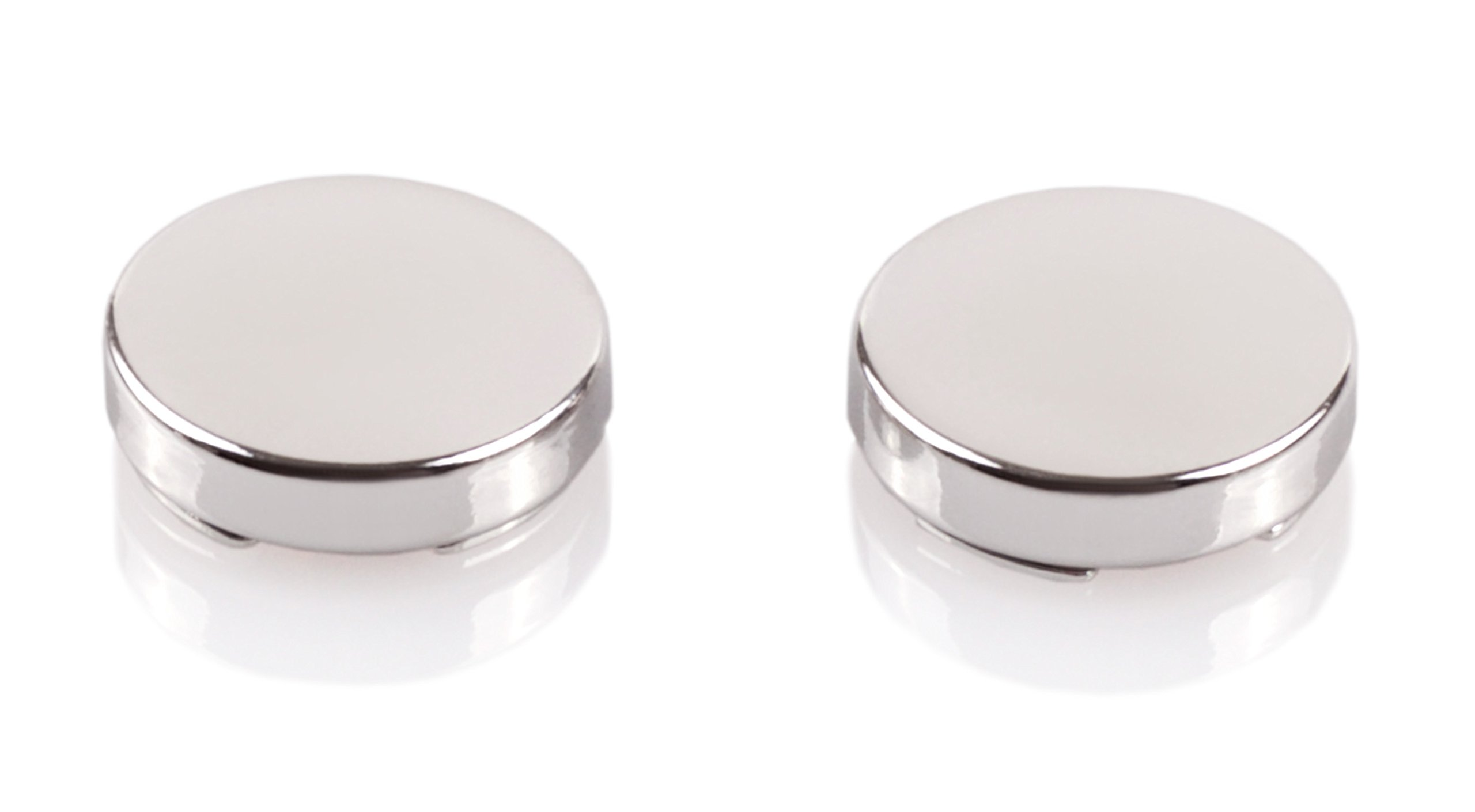 Silver Button Covers - Cuff Link Alternative for Shirts, Cuffs and Collars (CS-0- US)